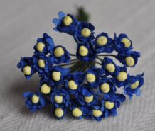 ROYAL BLUE GYPSOPHILA / FORGET ME NOT with Beads Mulberry Paper Flowers